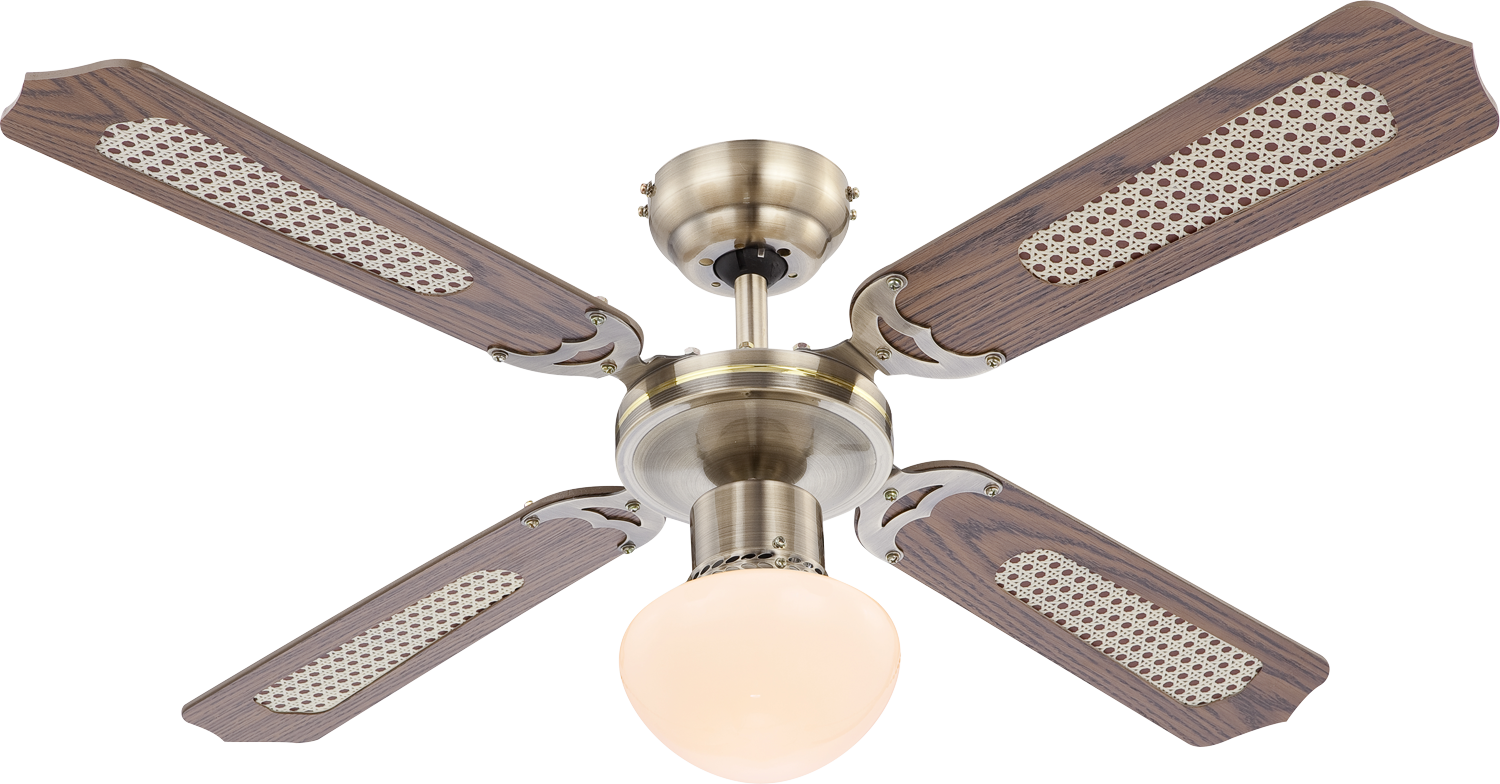 Globo Deckenventilator Champion Messing antik